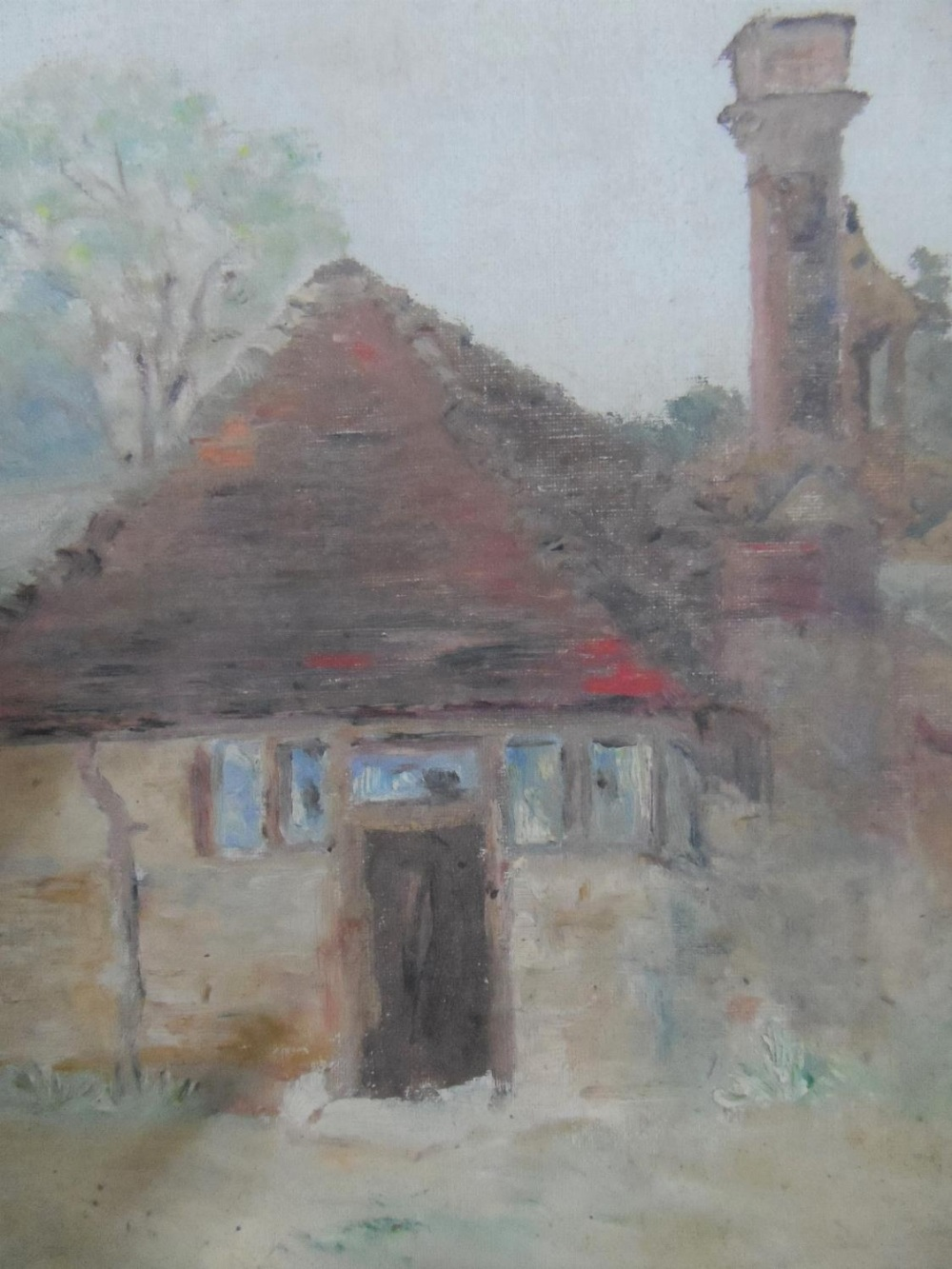 """Unsigned, mid 20thC French post-impressionist oil on board, """"Country cottage"""", silvered wood - Image 2 of 3"""