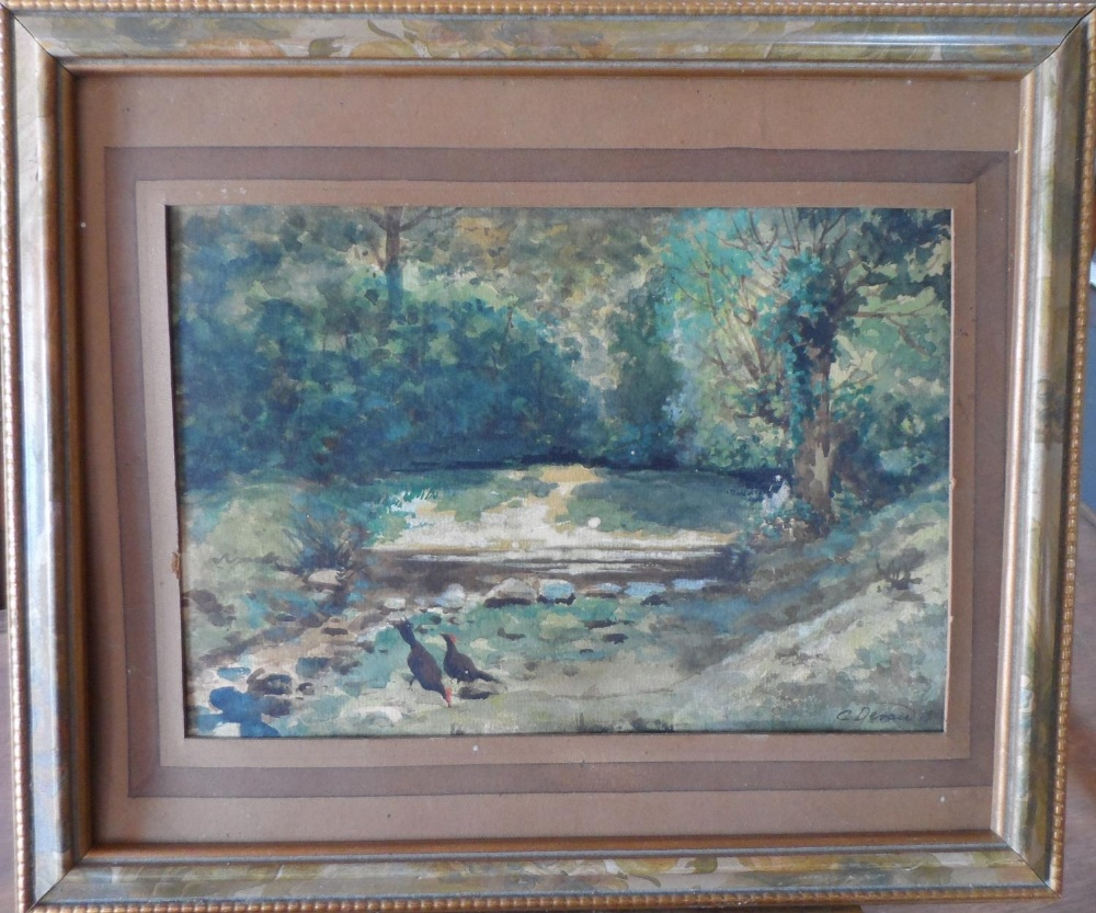 """G Devan 1907 watercolour """"Chickens by woodland pool"""", signed and dated, framed, The w/c measures - Image 2 of 4"""