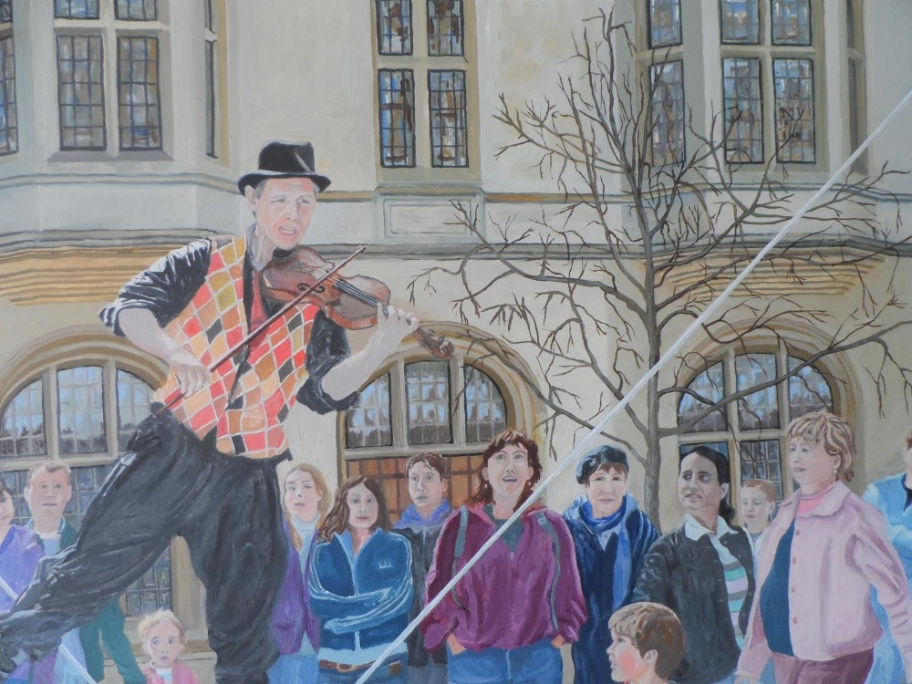 """Large Gerry Gibbs 2007 oil on board, """"The entertainer"""", unframed, signed and dated, 61 x 71 cm - Image 5 of 6"""