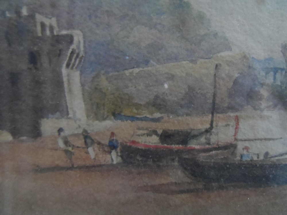 """Unsigned, early/mid 19thC watercolour """"Beached fishing boats"""", framed and glazed, The w/c measures - Image 3 of 4"""