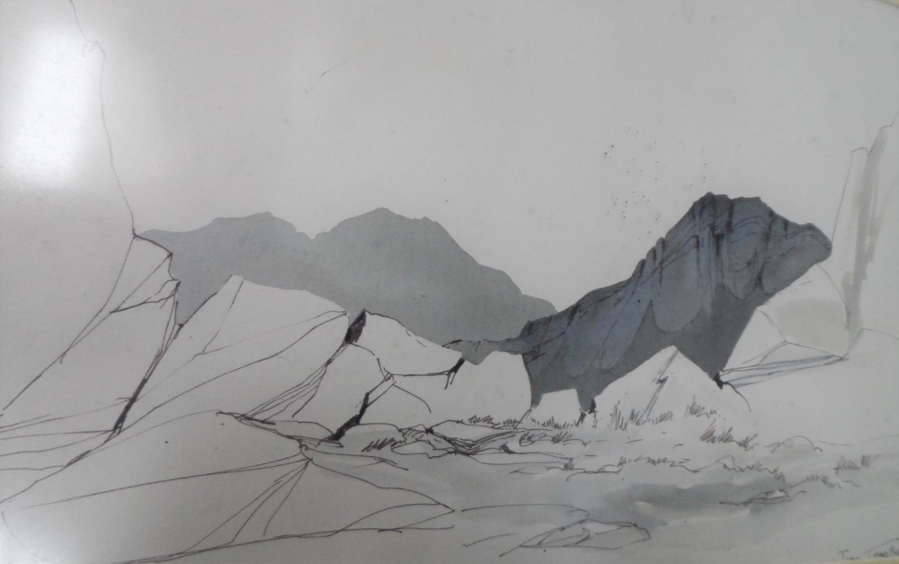 Three, well framed, mid 20thC watercolours all depicting mountains or rock formations, all by - Image 4 of 4