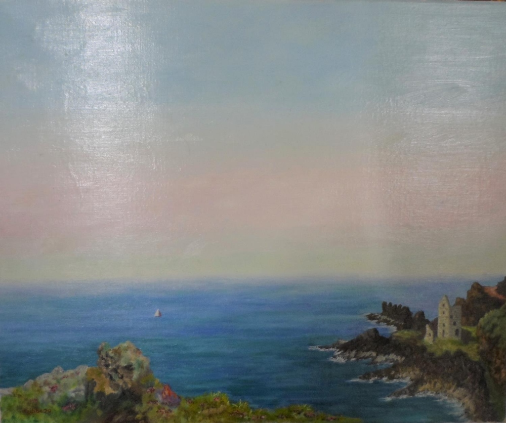 """Gerry B Gibbs 1970 post-impressionist oil on canvas, """"Tranquil coastal scene"""", signed and dated, - Image 2 of 5"""