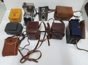 Collection of vintage, early/mid 20thC cased cameras to include Kodac Brownie & Reflex, Ensign &