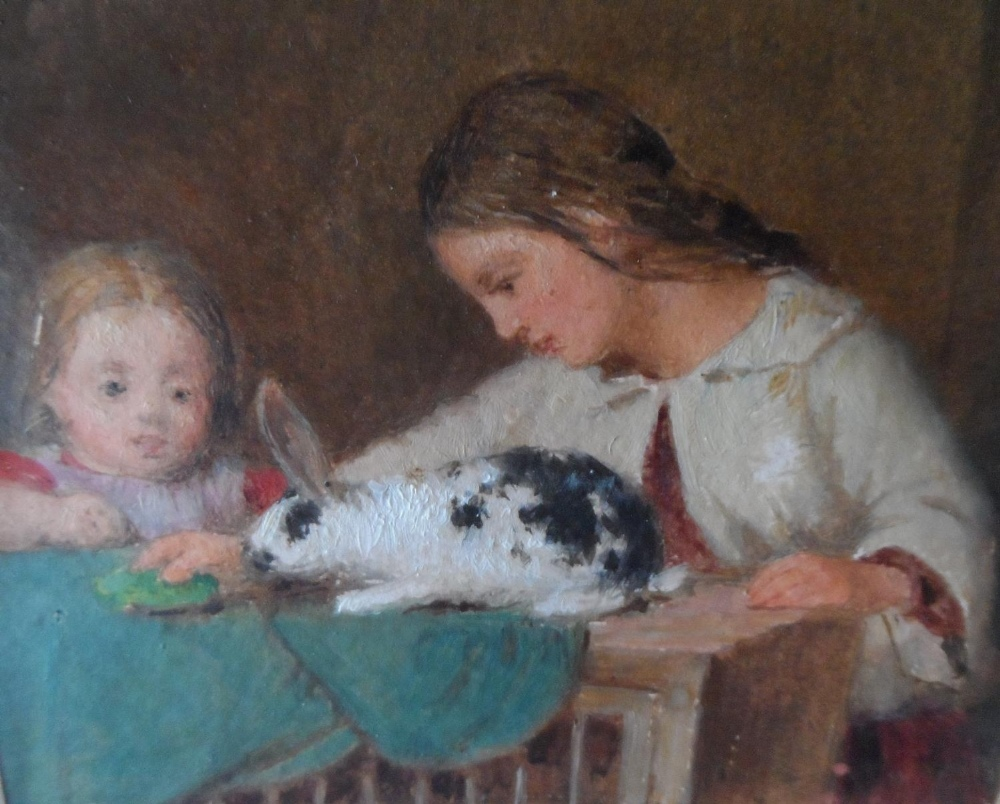 """Unsigned small Victorian oil on paper, """"Feeding the rabbit"""", mounted but unframed, The oil - Image 3 of 7"""