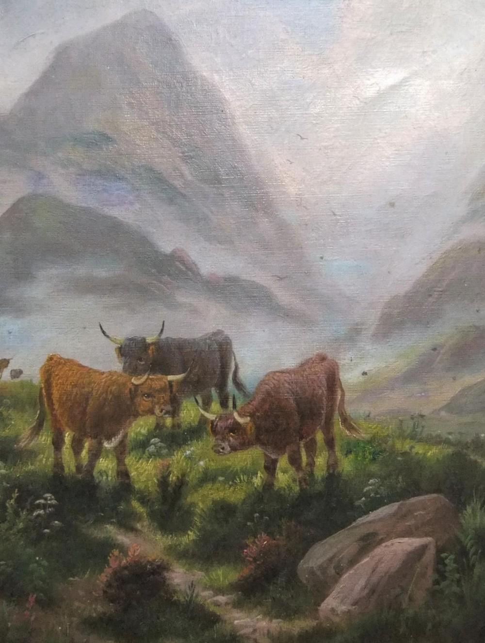 """Early 20thC oil on canvas """"Cattle in Highland landscape by E HEATON, unframed 51 x 38cm - Image 2 of 4"""