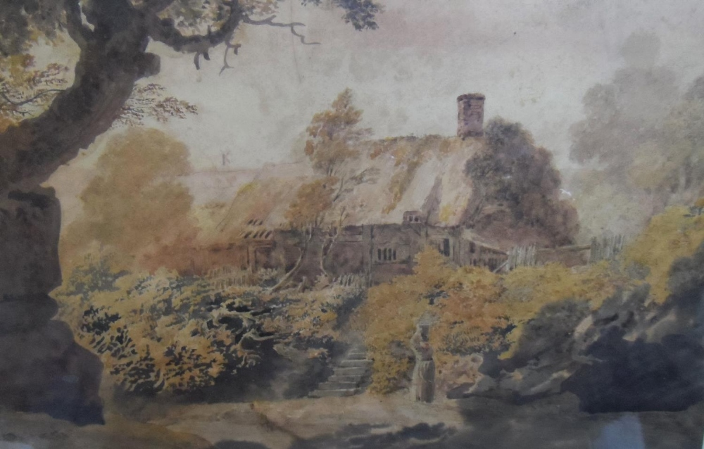 """Attributed to John GLOVER (1767-1849) watercolour """"Lady before country cottage"""" framed and glazed, - Image 3 of 3"""
