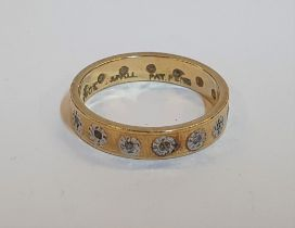18ct yellow gold 14 diamond eternity ring, Total gross weight is 3.7 grams, Ring size is N