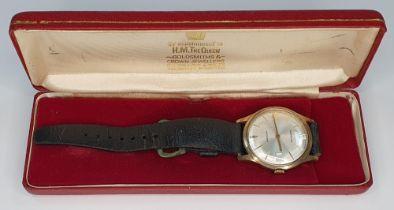 9ct gold cased Garrards gents 1970s wristwatch in original box