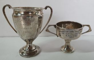 Two small Edwardian silver trophies, 1 for tennis, the other for bowls (2), 79 grams