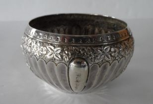 Antique silver sugar bowl, Sheffield 1896, possibly with a weighted base, Total weight 196 grams