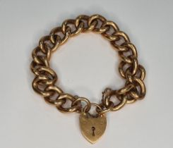 Chunky 9ct gold chain with lock, each link is stamped, 20cm long, 72 grams