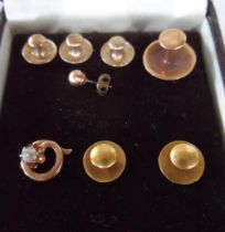 Collection of 18ct (2.4 grams) & 9ct (4.1 grams) studs together with a 9ct earring & a broken