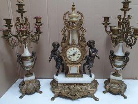 Italian made Imperial mantle clock in the classical style made in brass & marble, 63 cm tall