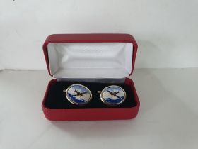Boxed pair of silver enamelled cufflinks with Spitfire motif