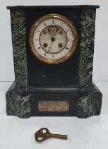 Victorian slate and marble mantle clock with key, Glass face broken