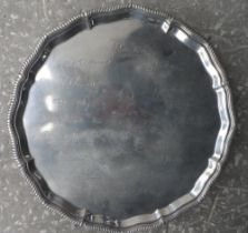 Silver serving tray, Sheffield 1927, presented to Major P.J Ryan in Nov 1928 in celebration of his
