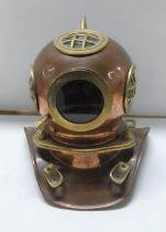 Vintage Copper & Brass miniature divers helmet for Rolex, used in shops to advertise the Rolex