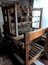 Full-sized antique weavers loom, measuring approx 160cm long x 115cm wide by 175cm high, The loom
