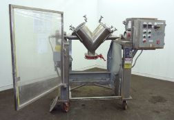 Used- Gemco Twin Shell Blender 1.05 CuFt Working Capacity, 316 SS, Max material density 270 lbs/CuFt
