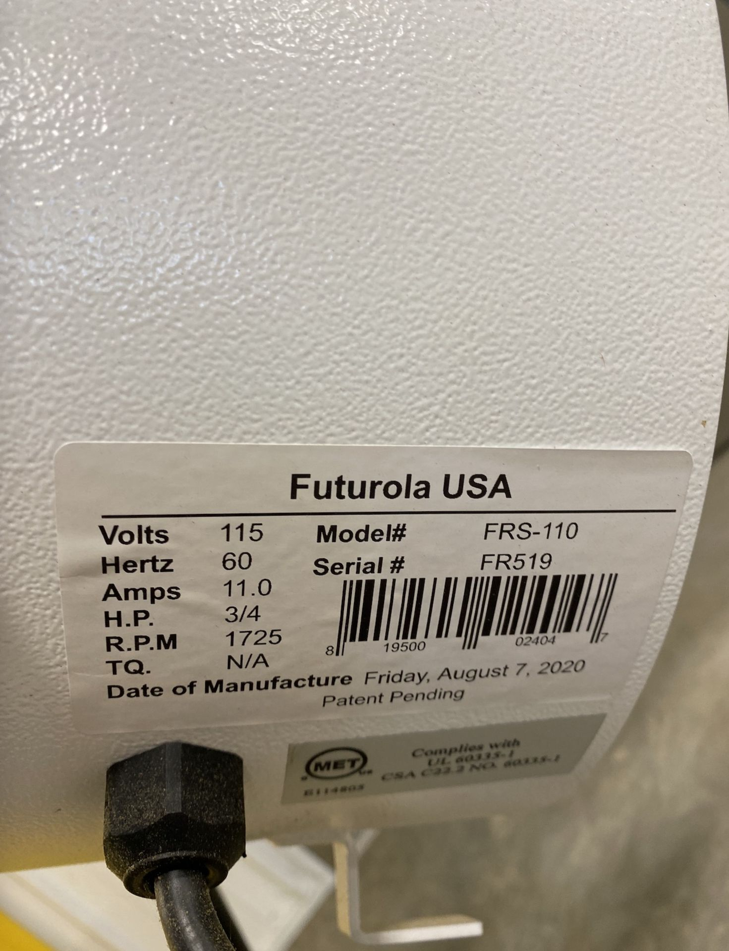 Used Futurola Original Shredder. Model FRS-110. Throughput: 0.7 lbs in 2 seconds w/ Adjustable Timer - Image 3 of 3