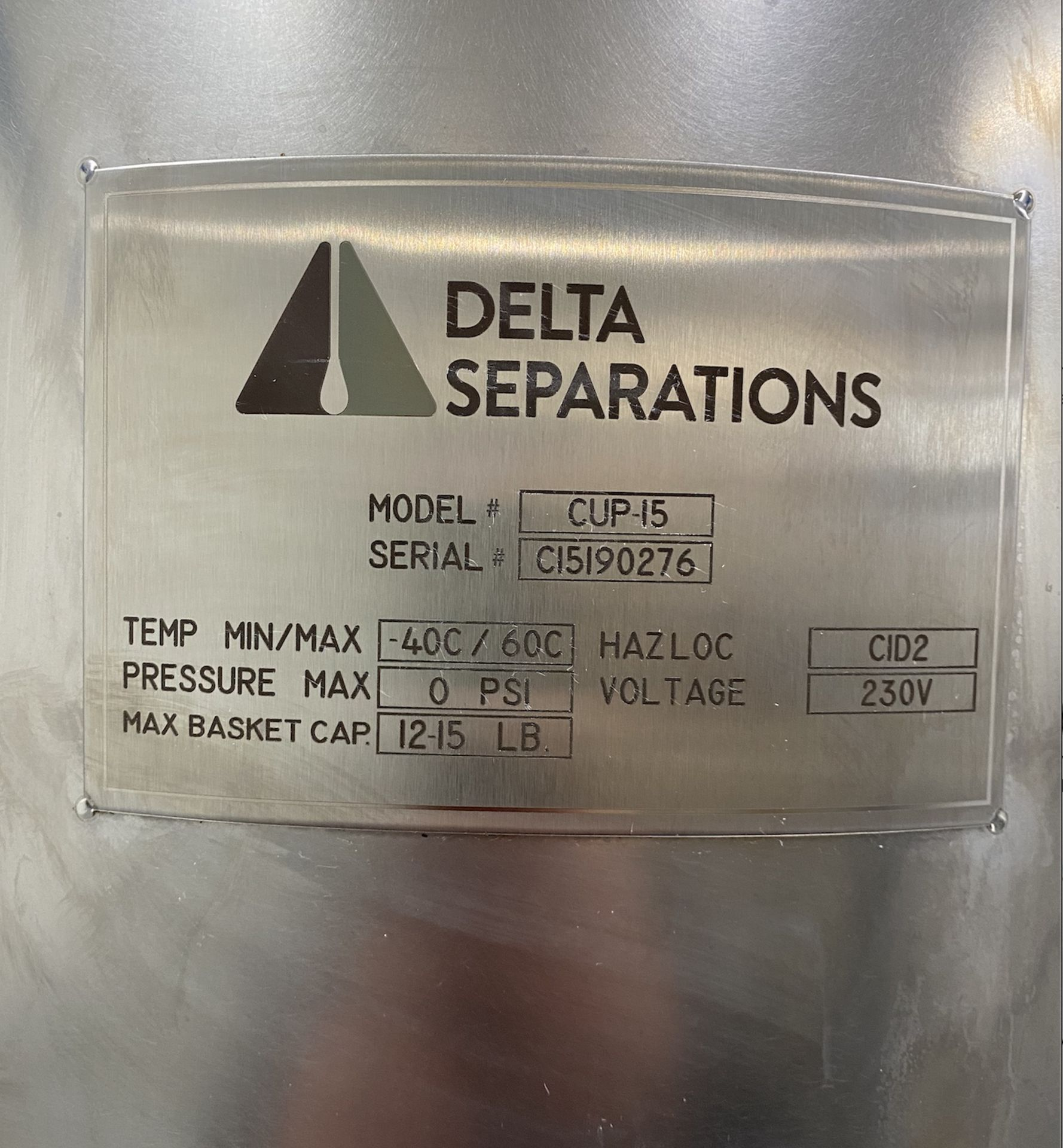 Used- Delta Separations CUP-15 Ethanol Alcohol Extraction System, Capacity: 8-14 lbs per Batch - Image 4 of 5