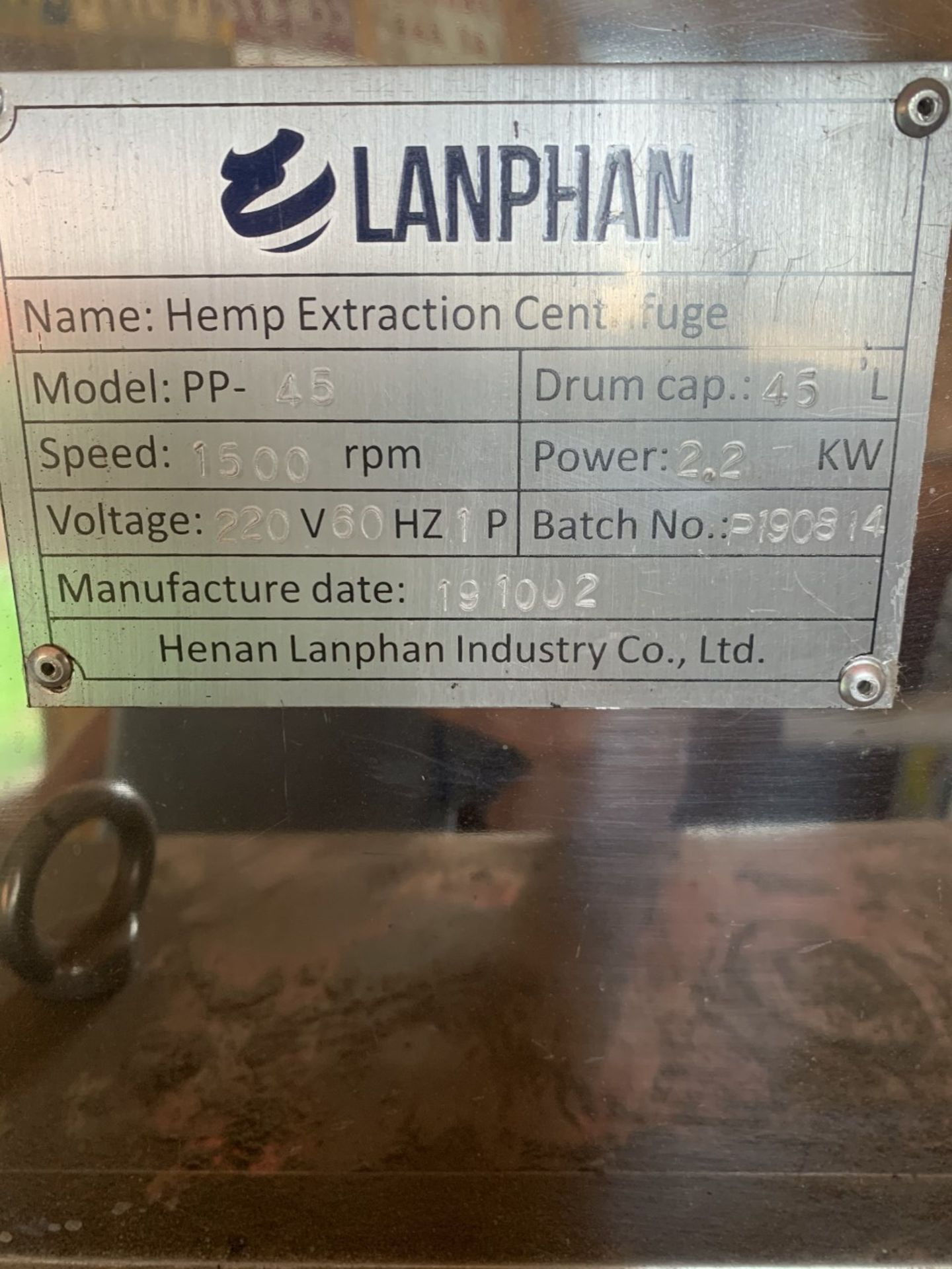 Used Henan Lanphan Industry Co. Hemp Extraction Centrifuge. Model PP-45. 20 lbs per batch - Image 3 of 3