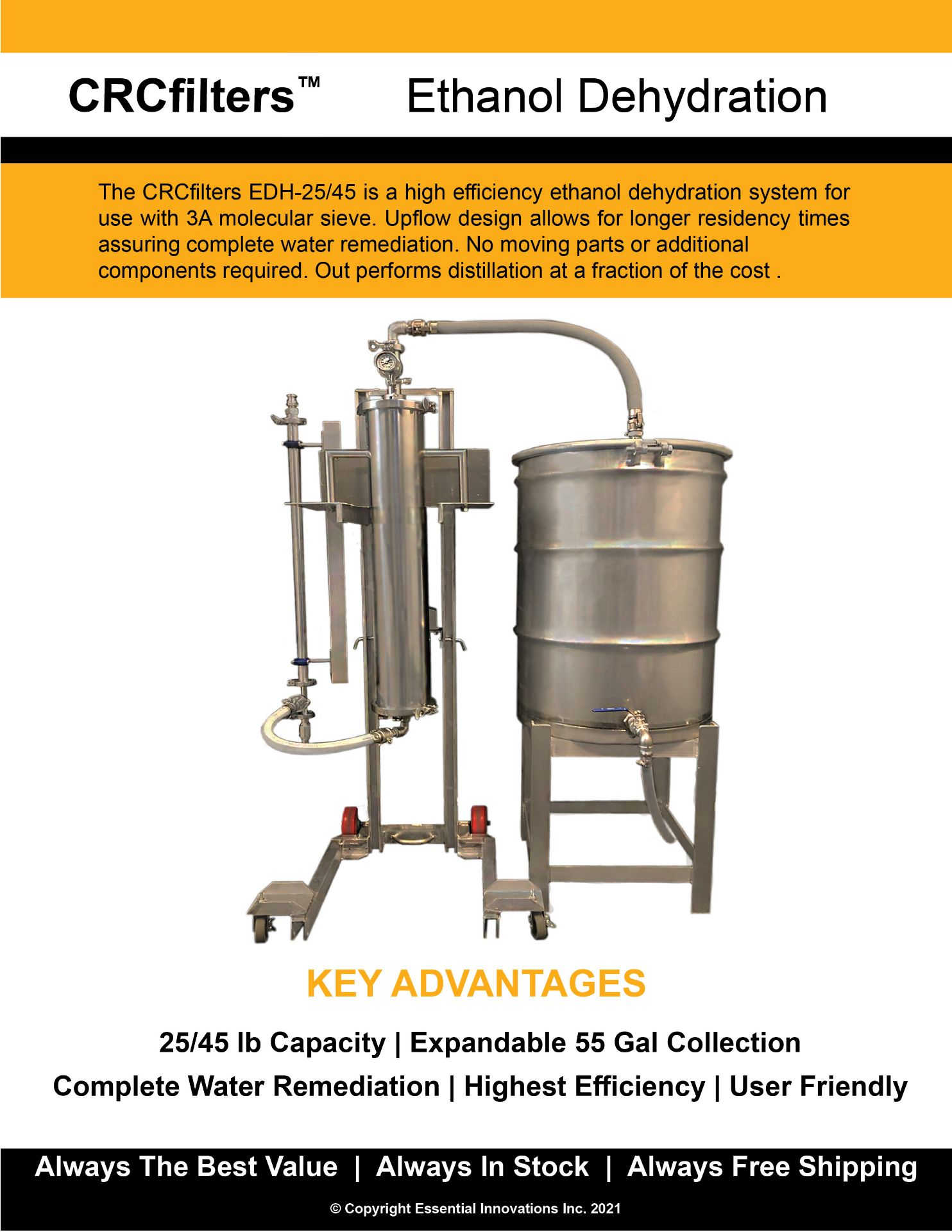 Used/Refurbished-CRCfilters Ethanol Dehydration System EDH-25. 25lb capacity 55 gal collection drum. - Image 6 of 7