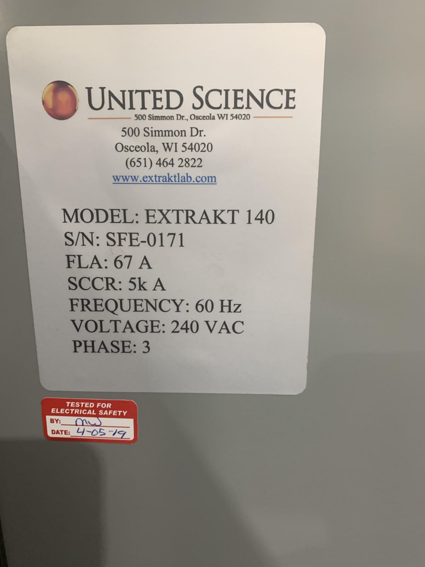 Used- ExtraktLAB Supercritical CO2 Extraction System with PolyScience Chiller Included. Model E-140 - Image 4 of 9