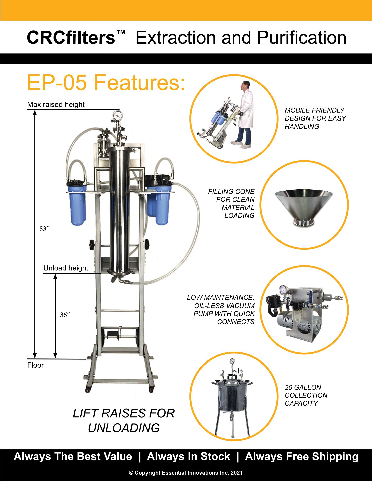 Used-CRCfilters Ethanol Extraction/Purification System. Model EP-05 w/ 20 Gal Collection Vessel - Image 6 of 6