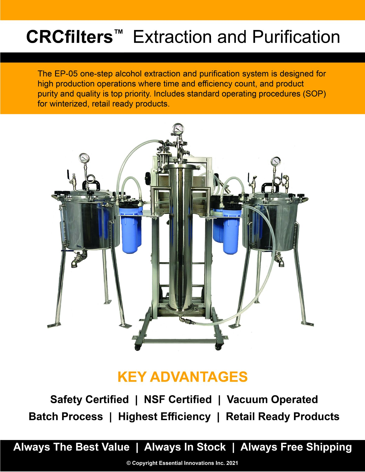 Used-CRCfilters Ethanol Extraction/Purification System. Model EP-05 w/ 20 Gal Collection Vessel - Image 5 of 6