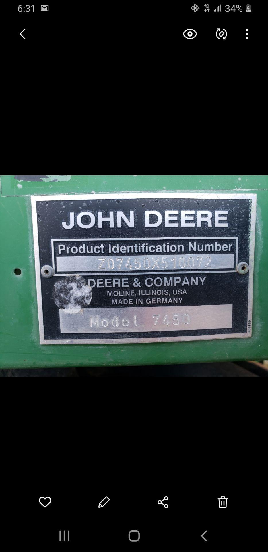 Used-John Deere 7450 Tractor. Model 7450. 1881 hrs. 688 Chopper Head - Image 7 of 10