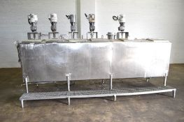 Used- 6 Compartment Rectangular Tank, Approximate 700 Total Gallons, 304 Stainless Steel.