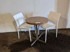 5 Round Single Pedestal Tables and 7 White Stacking Plastic Chairs