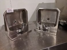 2 Stainless Steel Wall Mount Hand Sinks with Motion Sensor Taps