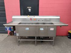 "Approx. 94x34"" Stainless Steel 3 Compartment Sink with Wash Wand and Industrial Power Soaker System"