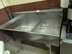 Custom Approx. 6 ft Two Well Stainless Steel Sink with Left Hand Run Off