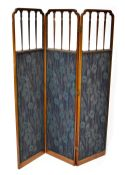 An Edwardian inlaid mahogany two-fold three-panel screen,