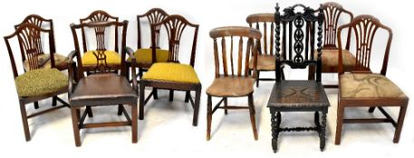 Eleven various 19th century and later dining chairs comprising a Georgian mahogany carver with
