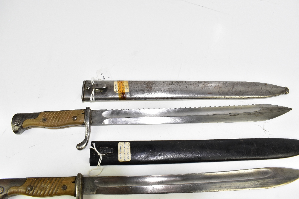 Three German bayonets comprising KAR 98 1916, KAR 98 1917 and Third Reich Mauser MOD 98, all with - Image 2 of 4