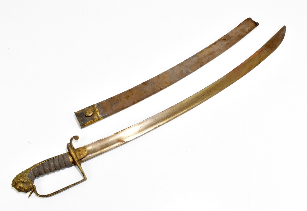 An early 19th century officer's sword, with curved blade and mask head terminal, with leather