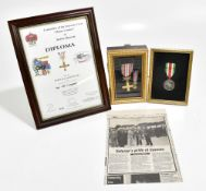A Monte Cassino Gold Cross with Swords medal and miniature and further commemorative medal awarded