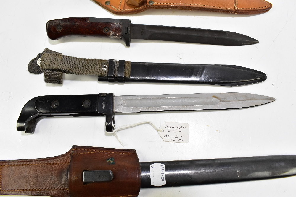 Two Czech VZ58 and VZ24 bayonets and a further Russian 'USSR' AK-47 c1951 bayonet, all with - Image 3 of 4