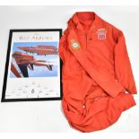 RED ARROWS INTEREST; a red flying suit with embroidered RAF emblem, Union Jack and named 'Antony