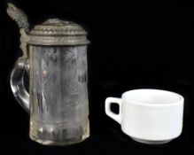 A German crystal tankard with pewter lid bearing bust of a general wearing Iron Cross in relief, the