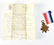 A World War I 1914-15 Star awarded to G-1701 Pte. W.J. Seach Midd'x. R., KIA with letter of