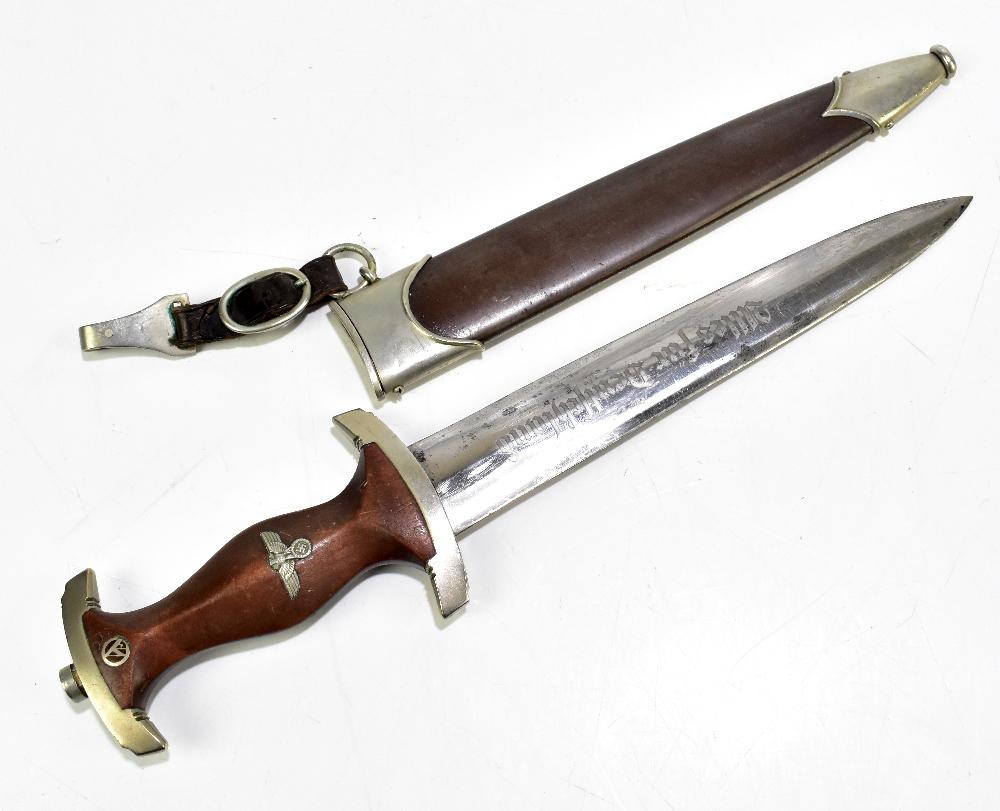 A German Third Reich SA (Sturmabteilung) dagger, the blade with etched motto 'Alles Für Deutschland'