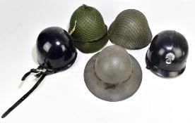 Five military and public service helmets comprising British Civil Defence Zuckerman, French