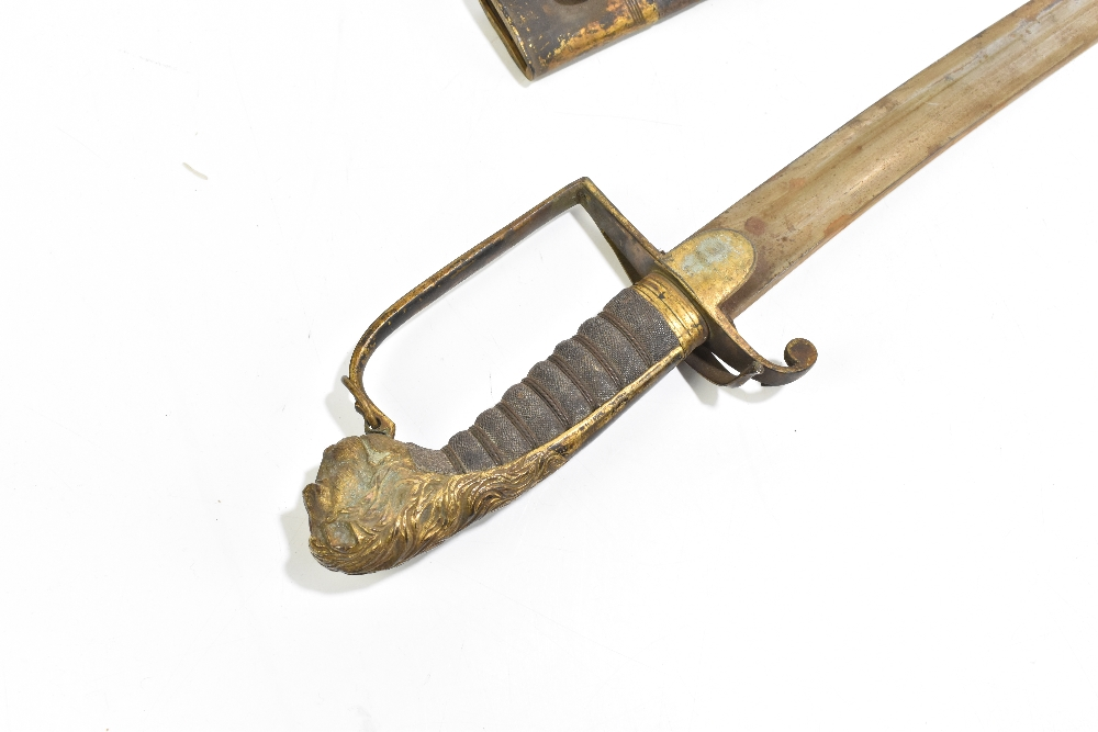An early 19th century officer's sword, with curved blade and mask head terminal, with leather - Image 3 of 4
