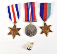 A World War II group of three comprising War Medal and 1939-1945 and France and Germany Stars,