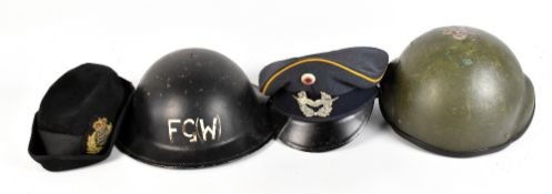 A WWII period Brodie-type hat with later painted script FG (W), together with two further military
